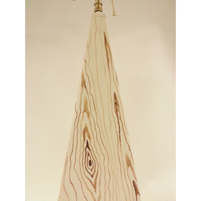 Pair of obelisk shape tole lamp with faux wood design, Harmony and Happiness, can be put in bedroom or living room....