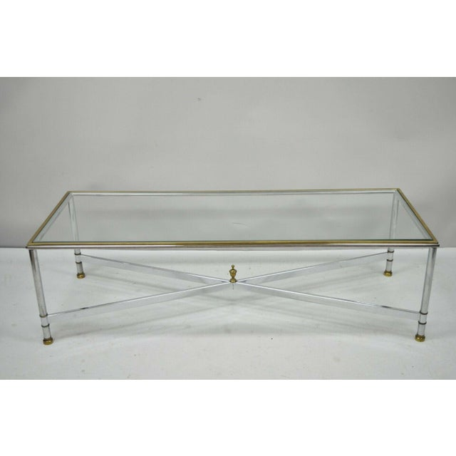 1970s French Neoclassical Steel & Brass Rectangular Coffee