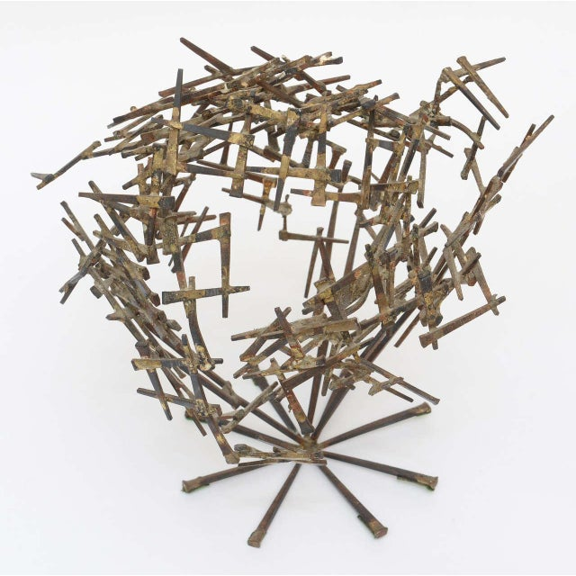 Vintage Brutalist Abstract Nail Tabletop Sculpture For Sale In Miami - Image 6 of 11