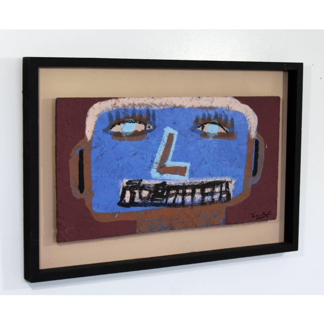 For your consideration is an incredible, framed portrait painting on wood, signed by Tyree Guyton, Detroit artist dated...