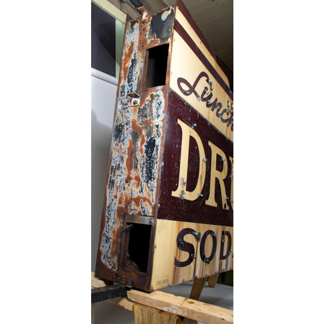 1910s Industrial Soda Fountain & Drug Store Sign For Sale In Chicago - Image 6 of 7