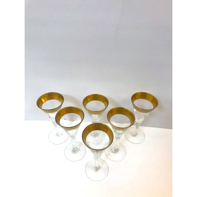 Set of Six Crystal Gold Rim Cordial Glasses by Dorothy Thorpe For Sale - Image 10 of 13