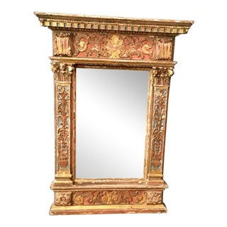 Italian Carved Painted & Giltwood Mirror