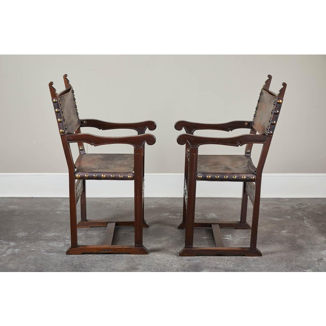 Brown 20th C. South American Armchairs W/ Leather Seat & Back - a Pair For Sale - Image 8 of 12