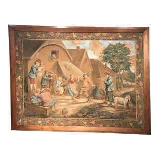 19th Century French Hand-Painted Framed Canvas After David Teniers For Sale