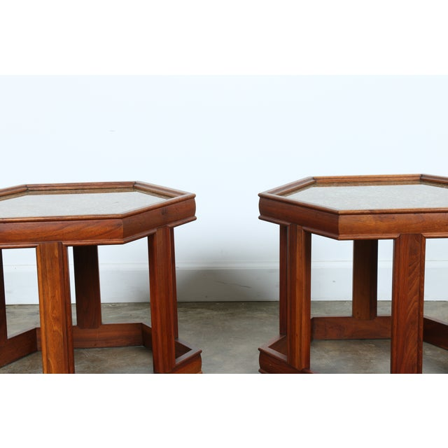 Brown Saltman Hexagonal End Tables - A Pair - Image 8 of 10