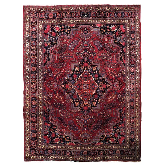 1910s handmade antique Persian Mashad rug 10.2' x 13.9' For Sale