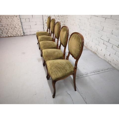Set of 5 Vintage French Louis XV Style Carved Oak Balloon Back Dining Side Chairs For Sale - Image 10 of 13