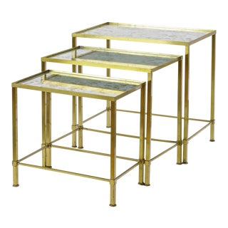 Marc Du Plantier Refined Gold Bronze 3 Nesting Tables For Sale