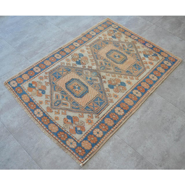 Vintage Low Pile Turkish Rug Hand Knotted Small Area Rug - 3′ X 4′4″ For Sale - Image 4 of 9