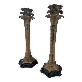 1980s Vintage Palm Tree Cast Iron Candle Holders - a Pair For Sale