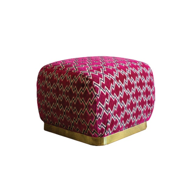 Modern Vintage Pouf Ottoman For Sale - Image 3 of 3