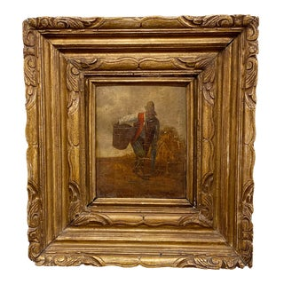 English 19th Century Figural Oil Painting on Board For Sale