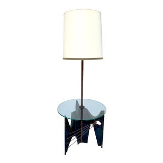 Brutalist Floor Lamp With Table by Harry Balmer for Laurel For Sale
