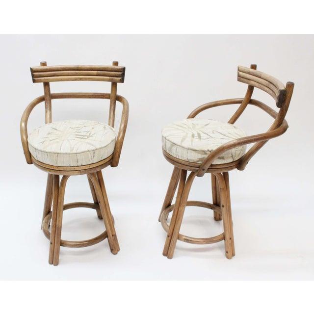Mid-Century Modern Rattan Bamboo Swivel Bar Stools - Set of 2 - Image 2 of 6