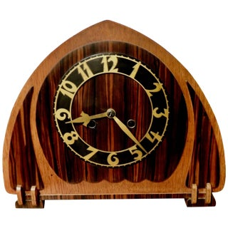 Art Deco Dutch Mantle Clock in Macassar and Oak For Sale