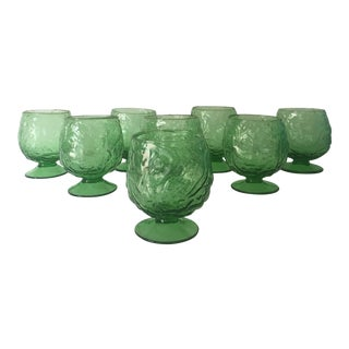 Green Vintage Footed Cabbage Goblets - Set of 8