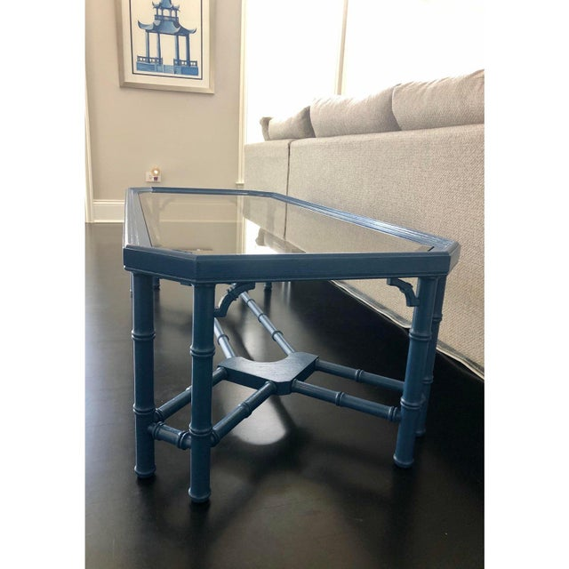 Blue Vintage Chinoiserie Faux Bamboo Painted Coffee Table For Sale - Image 8 of 11