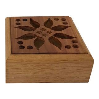 Vintage Cutwork Wooden Trinket Box For Sale