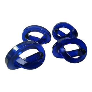 "Blue Lucite ""Pretzel"" Napkin Rings - Set of 4"