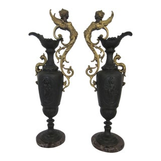 Antique French Neoclassical Spelter Mantle Ewers - a Pair