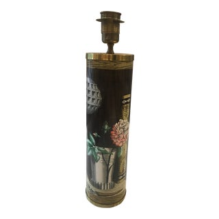 Vintage Fornasetti Brown Floral Lamp For Sale