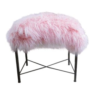 Vintage Pink Mongolian Lamb Seat Vanity Stool For Sale