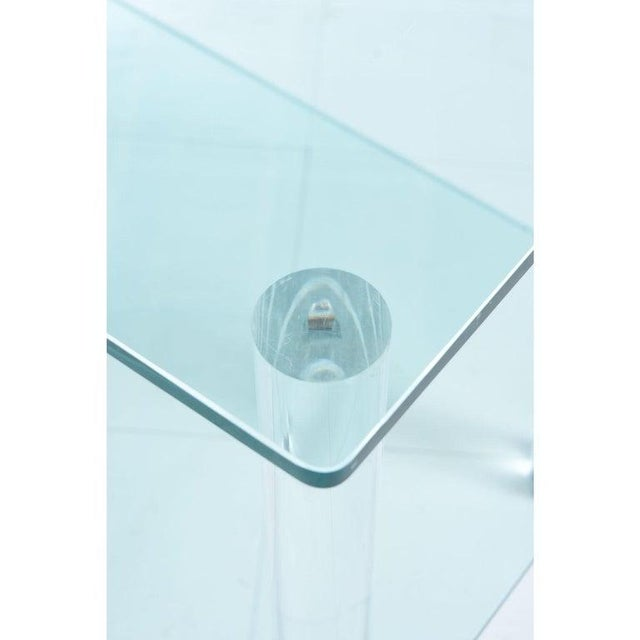 Leon Rosen for Pace Collection Style Lucite Screw Leg and Glass Cocktail Table For Sale In Tampa - Image 6 of 7
