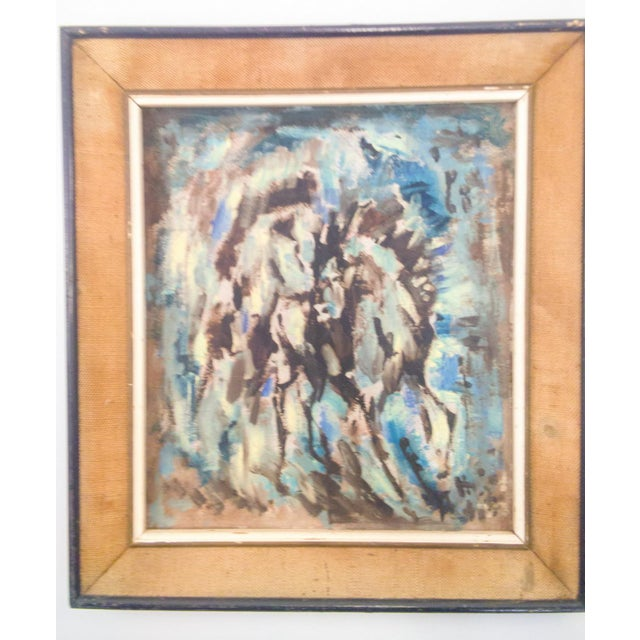 "Belgium Impressionistic ""Horses in Forrest"" Oil Painting For Sale In Atlanta - Image 6 of 6"