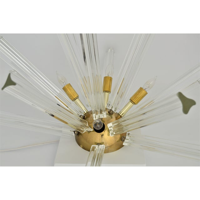 Venini Mid-Century Modern Italian Murano Glass & Brass Sputnik Table Lamp - Image 7 of 12