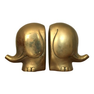 Mid Century Elephant Bookends For Sale