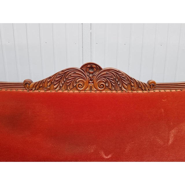1900s Antique French Cherry Massive Empire Red Velvet Upholstery Sofa Canape For Sale - Image 5 of 12