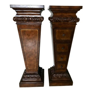Leather Drawer Pedestals With Gold Inlay - a Pair For Sale