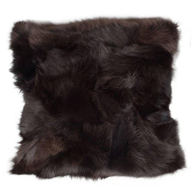 Luxurious Custom New Handmade Fox Fur Pillows in a Stunning Onyx Shade For Sale - Image 10 of 10