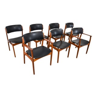 "1960s Vintage Erik Buch ""Floating Seat"" Danish Teak Dining Chairs - Set of 7 For Sale"