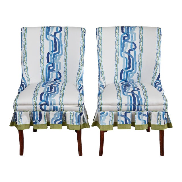 Mid 20th Century Occasional Chairs in Ferrick Mason's Forever Blue Whiskey Stripe - a Pair For Sale