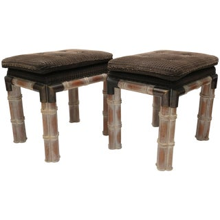 Sarried Ltd. Faux Bamboo Rectangular Benches - a Pair For Sale