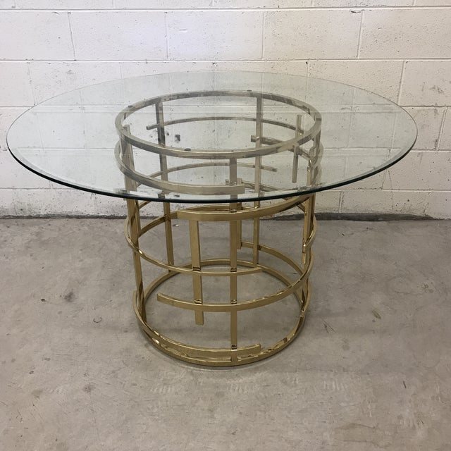 Mitchell Gold Glass and Brass Dining Table- Round For Sale - Image 10 of 10