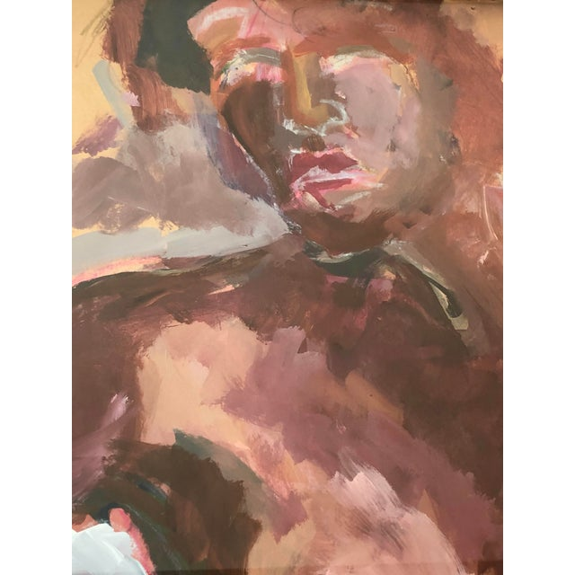 Late 20th Century Gilt Framed Expressive Gouache on Paper - Magenta Nude Woman For Sale - Image 5 of 8