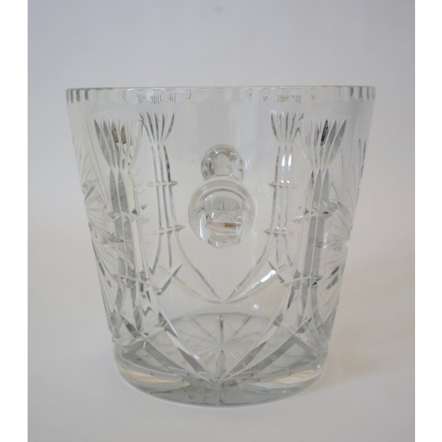 Glass Vintage Ice Bucket Lead Crystal Pressed Design For Sale - Image 7 of 13