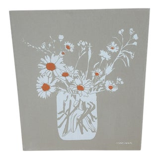1970s Signed Marushka Flowers in a Vase Textile Art