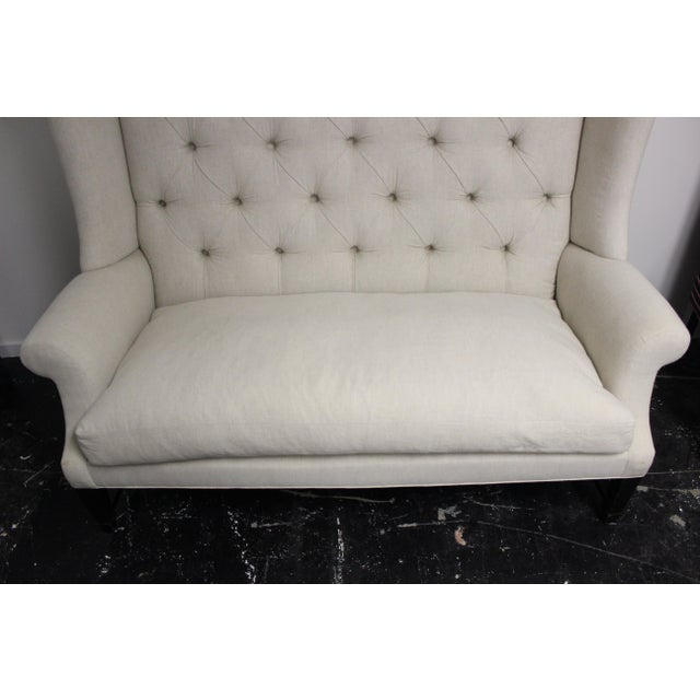 Tufted Wing Back Sofa For Sale - Image 4 of 6