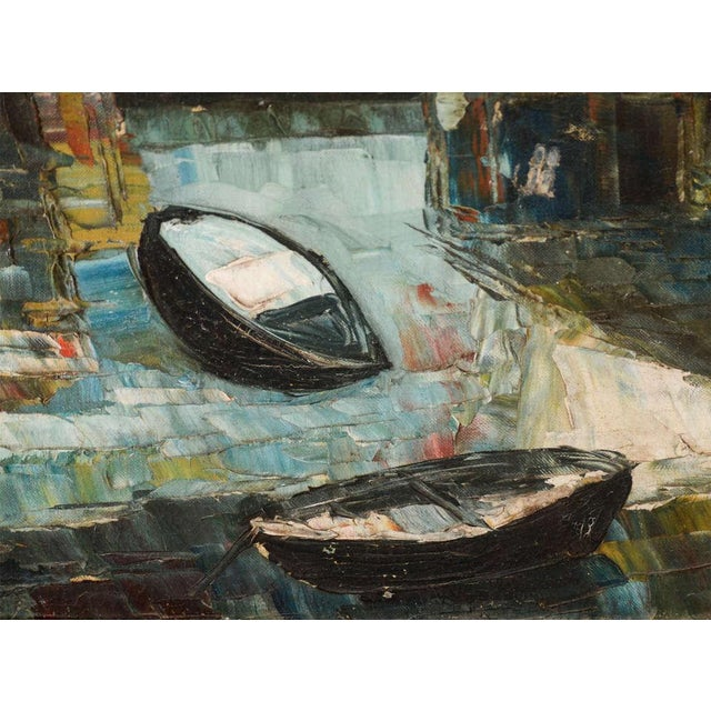 Mid-century oil on board abstract art work with row boat theme and with structural and architectural figures. Illegible...