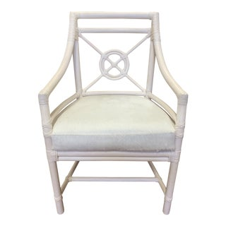 McGuire White Target Back Rattan Chair + Horse Hide Cushion For Sale