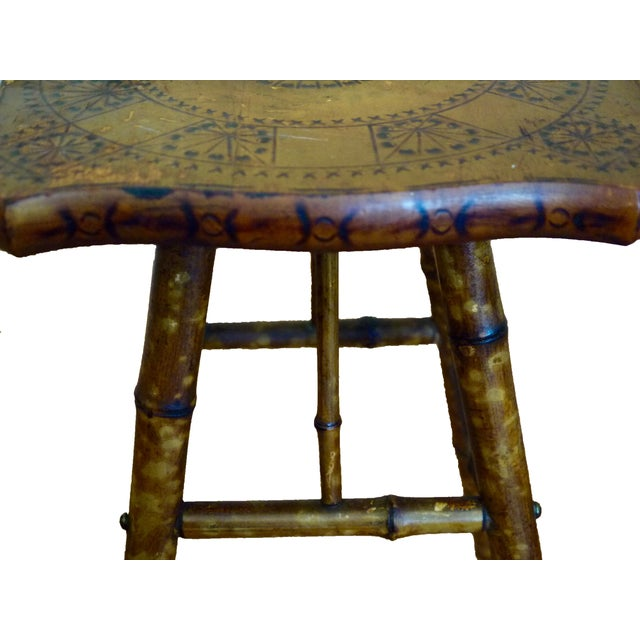 Antique Victorian Scorched Bamboo Side Table - Image 3 of 4