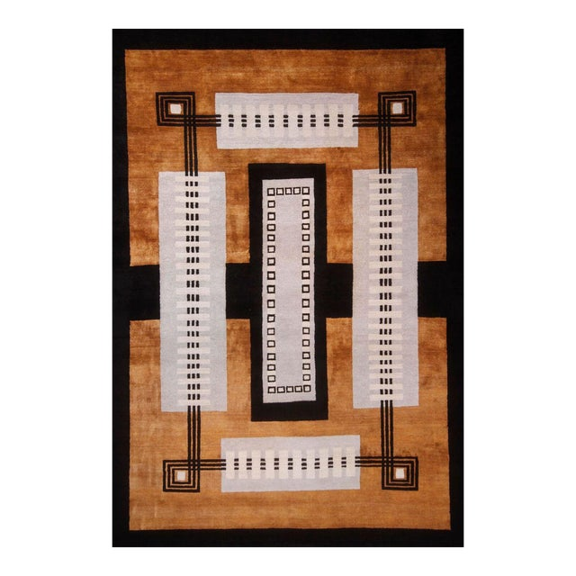 Vintage Mid-Century Hand-Knotted Geometric Rug - 11′8″ × 13′10″ For Sale