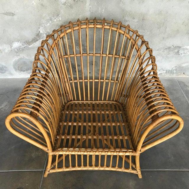 1970s 1980s Franco Albini Rattan Chair and Ottoman Set For Sale - Image 5 of 12