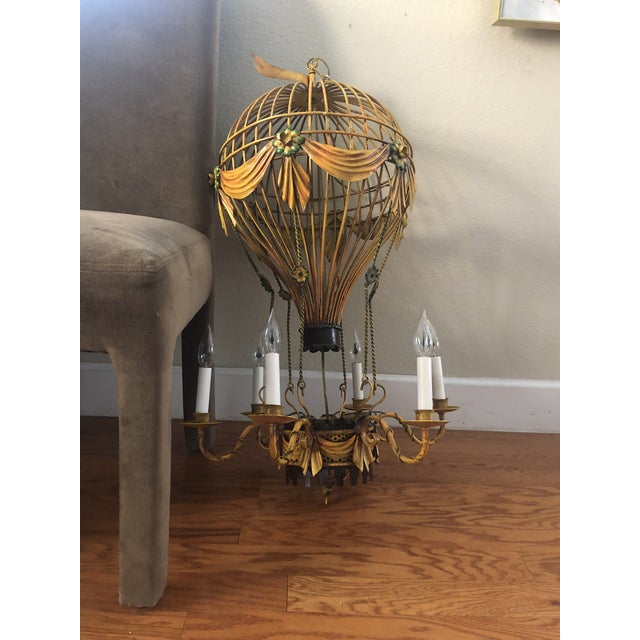 Vintage Italian Tole Hot Air Balloon Chandelier For Sale In Tampa - Image 6 of 6