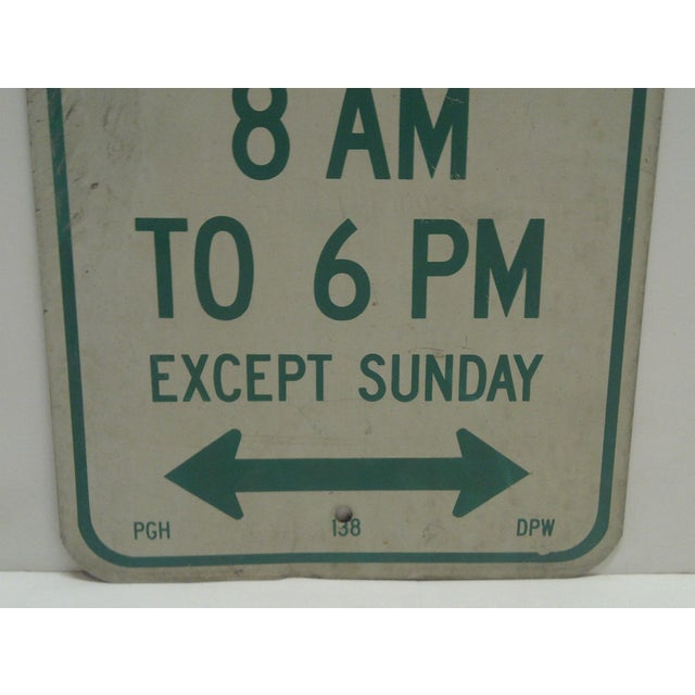 "Vintage Metal ""One Hour Parking"" Sign For Sale - Image 4 of 5"