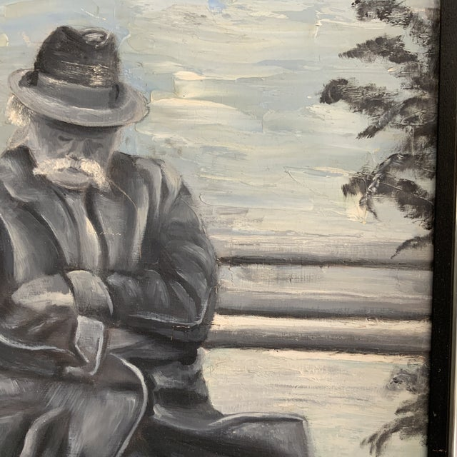 Contemporary 1970s Vintage Gentleman Napping on Bench Painting For Sale - Image 3 of 6